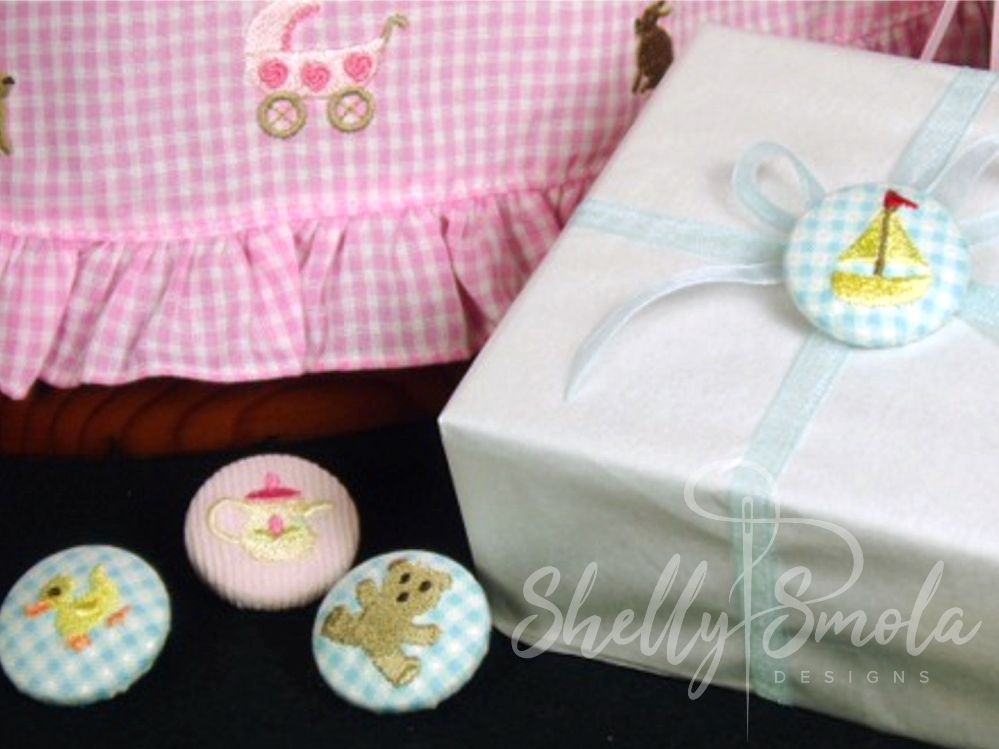 Babes and Toys Button Covers by Shelly Smola