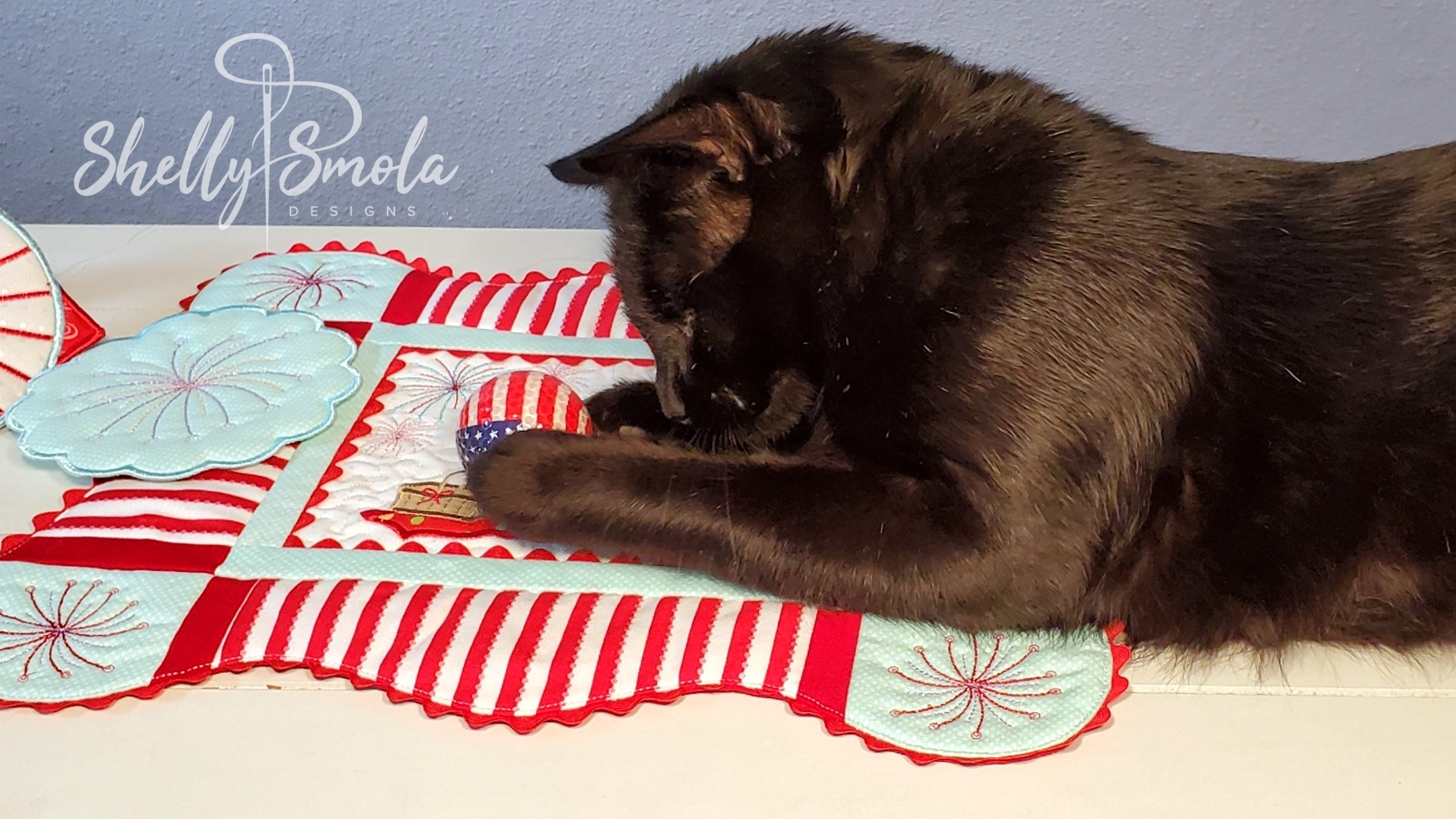 4th of July Placemat with Spooky the Cat by Shelly Smola Designs