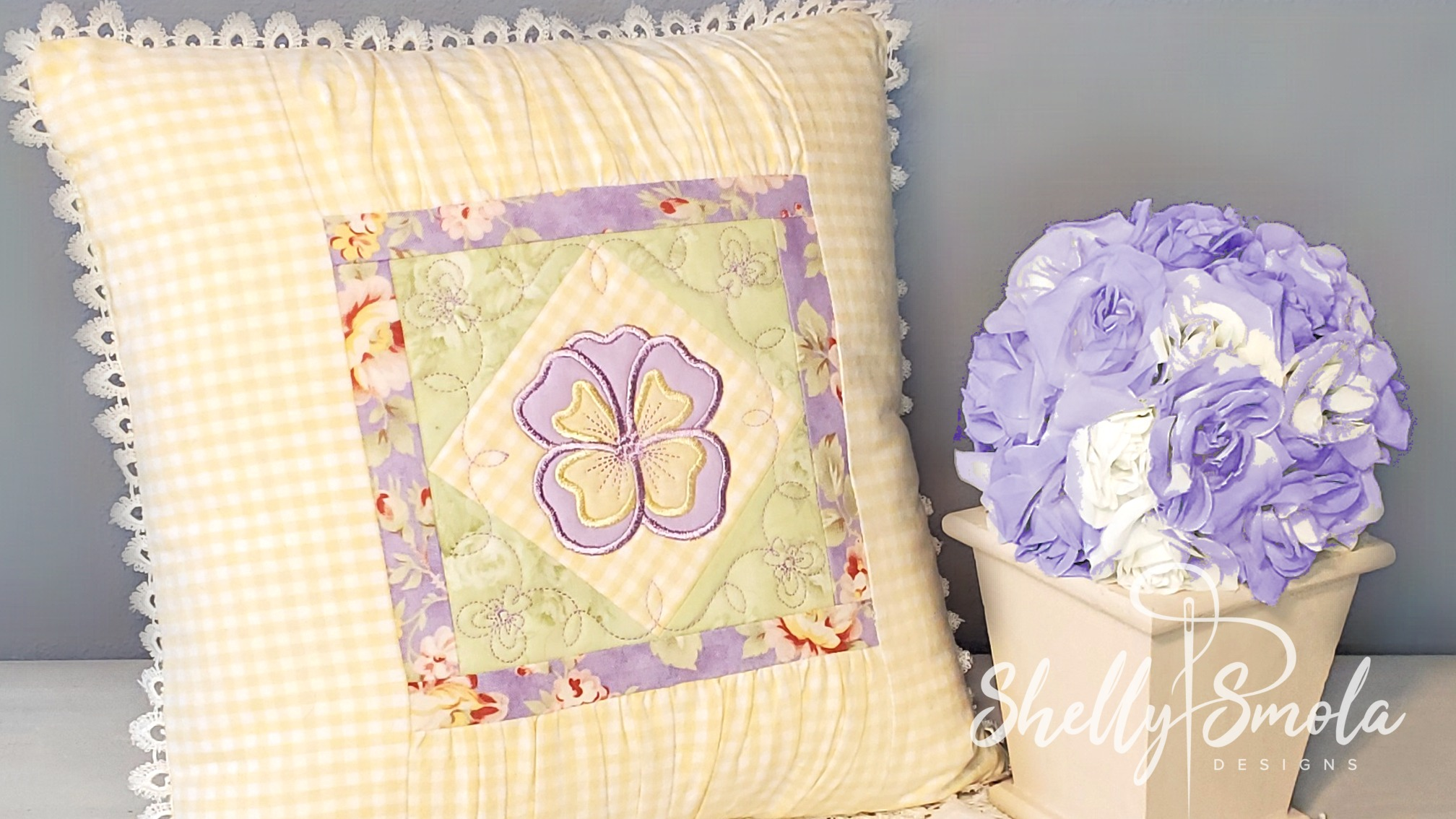 Pansy Pillow by Shelly Smola