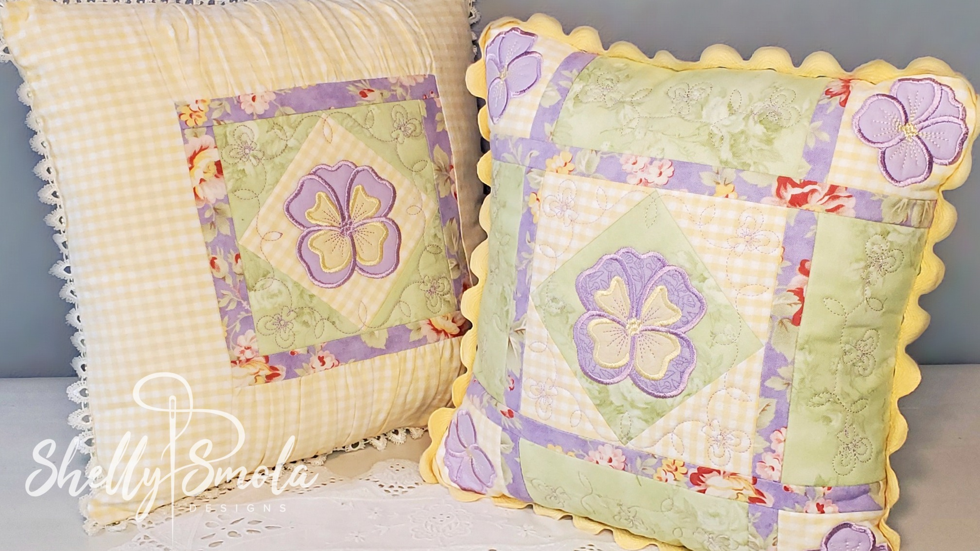 Pansy Pillows by Shelly Smola