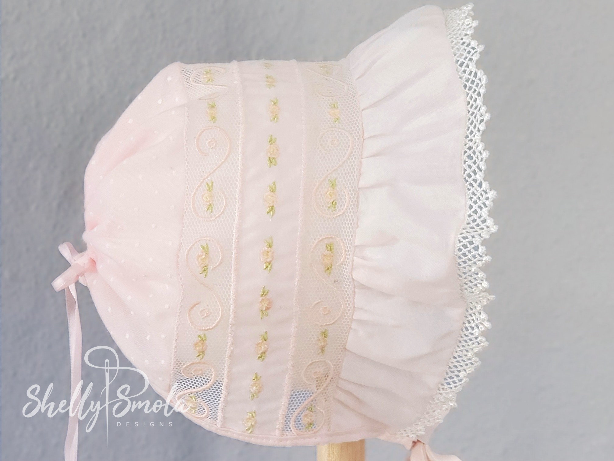 Embroidered Lace Bonnet