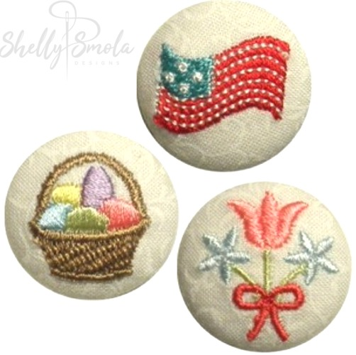 Spring Holiday Button Covers by Shelly Smola