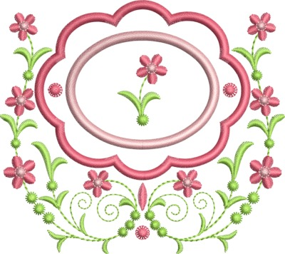 Floral Embroidery Design Frame