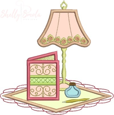Book and Lamp Applique by Shelly Smola