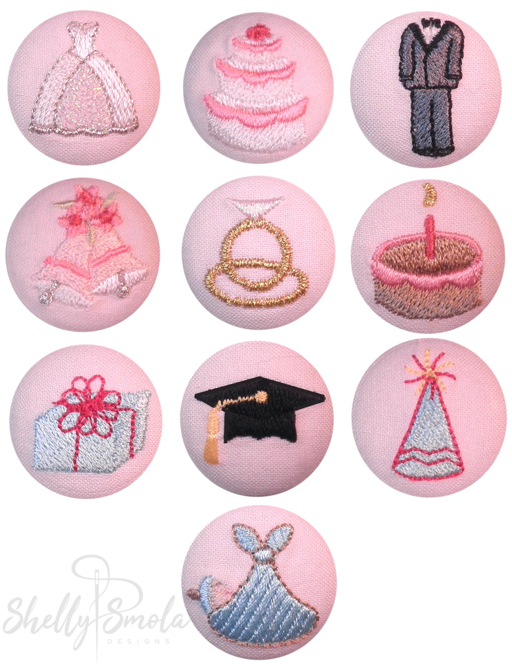 Special Occasion Button Covers by Shelly Smola