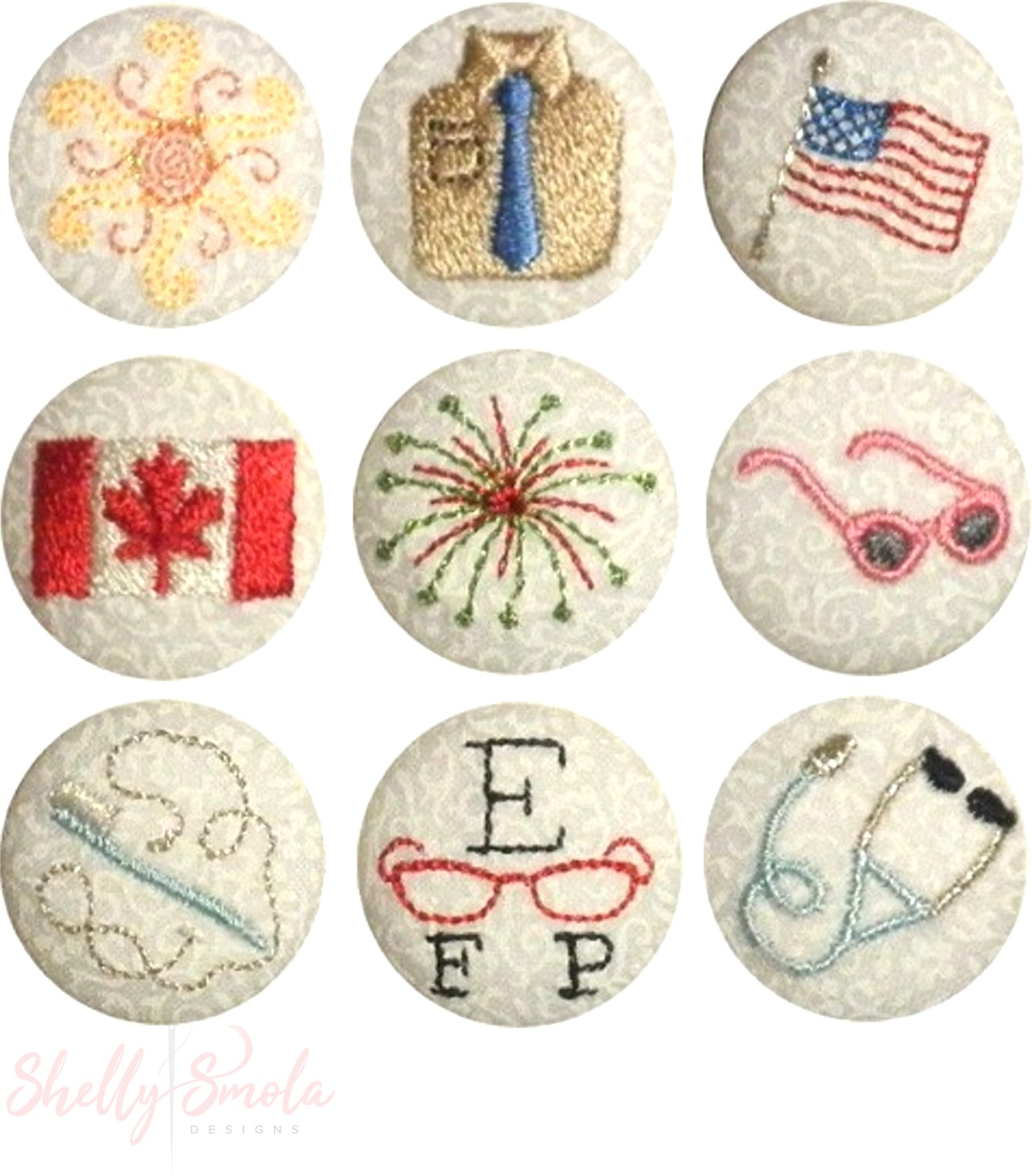 Summer Holiday Button Covers by Shelly Smola