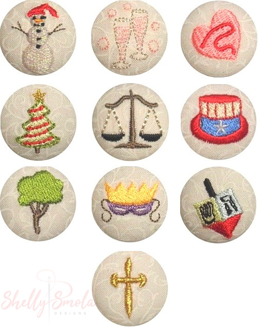 Winter Holiday Button Covers by Shelly Smola
