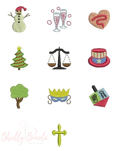 Winter Holiday Button Cover Designs by Shelly Smola