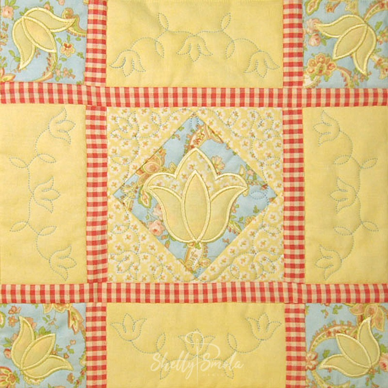 Spring Quilt Tulip Block by Shelly Smola