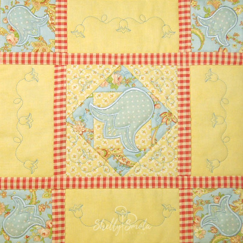 Spring Quilt Bluebell Block by Shelly Smola