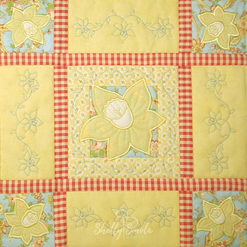 Spring Quilt Daffodil Block by Shelly Smola