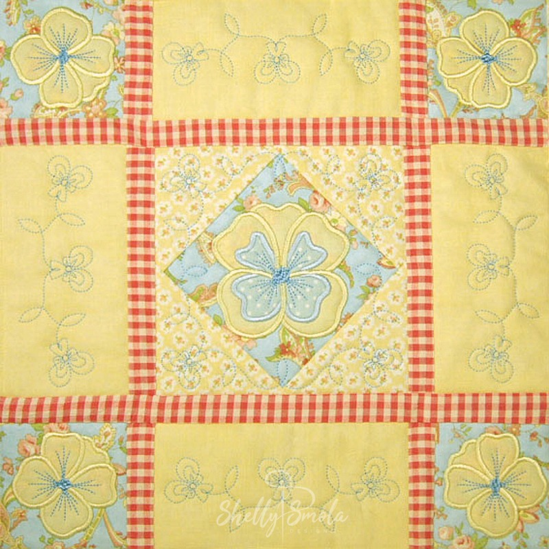 Spring Quilt Pansy Block by Shelly Smola