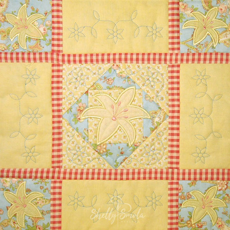 Spring Quilt Lily Block by Shelly Smola