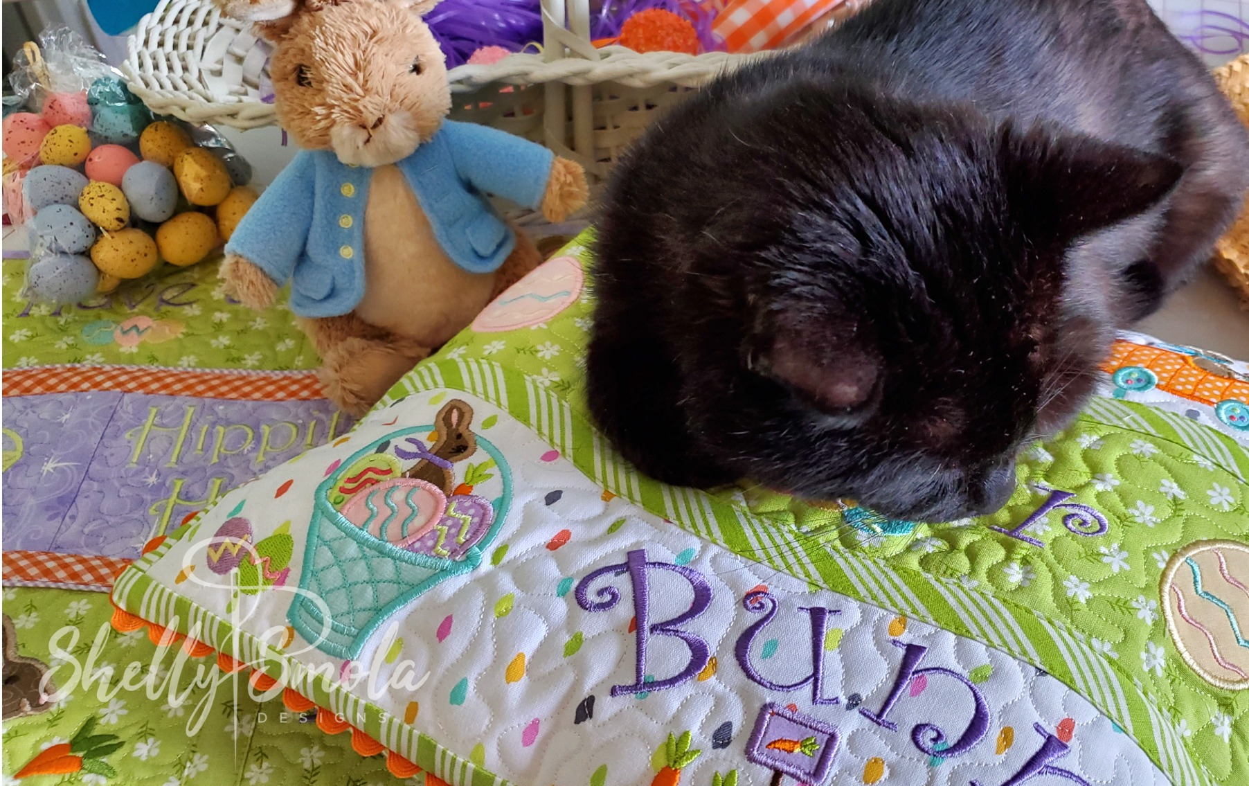 Bunny Kisses and Spooky the Cat by Shelly Smola Designs