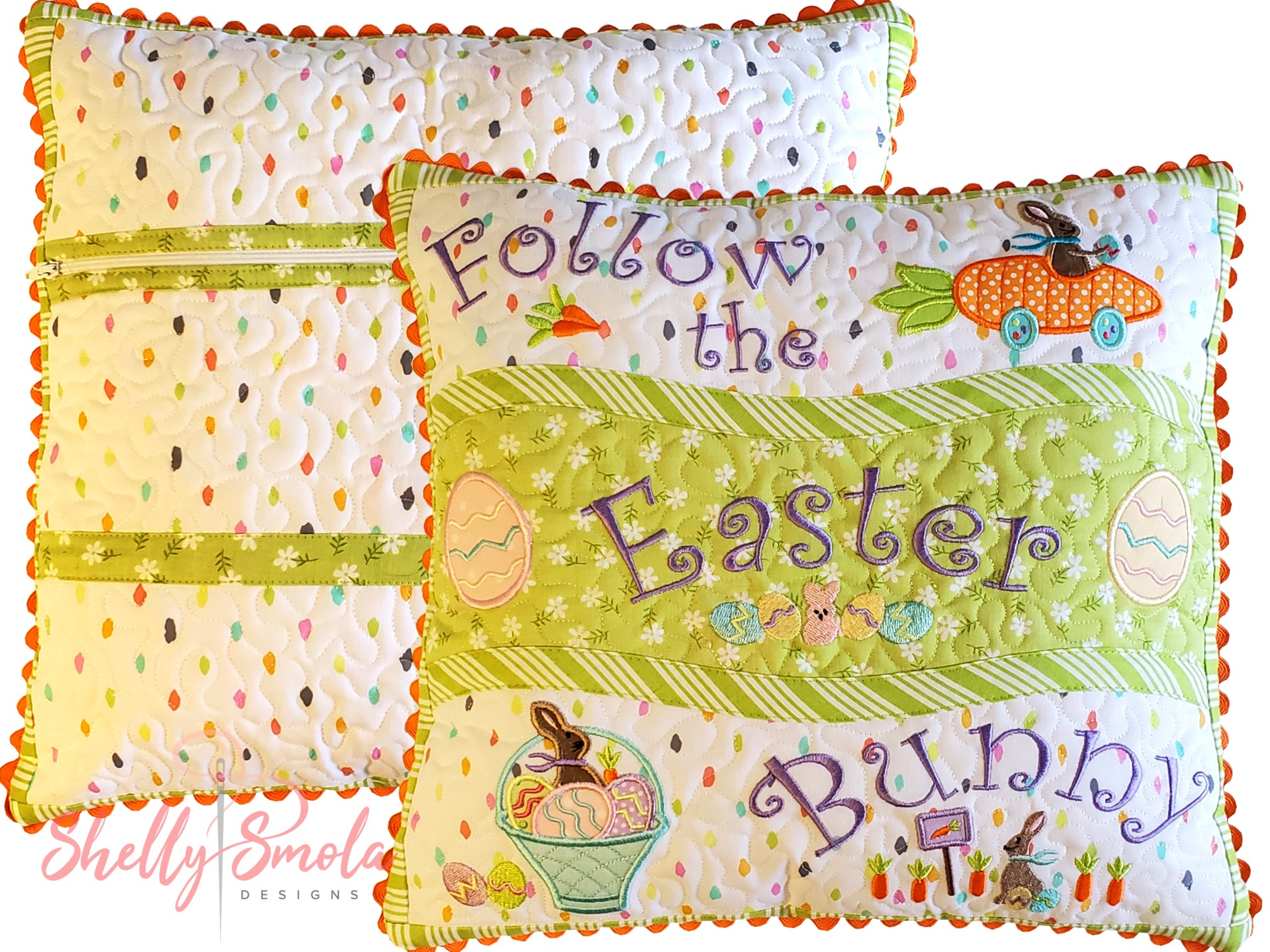 Bunny Kisses Pillow by Shelly Smola