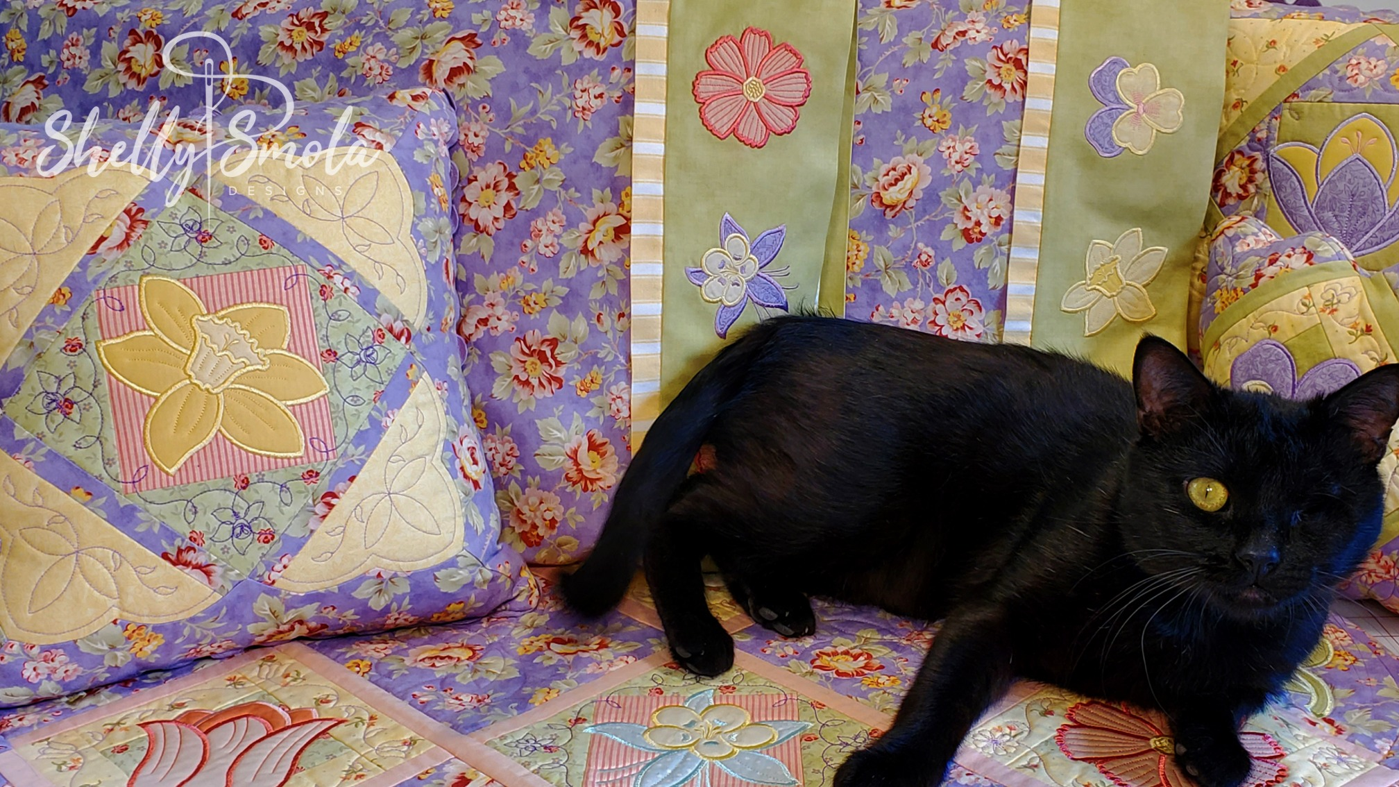 Spooky the Cat with the Flower Garden Quilt by Shelly Smola Designs