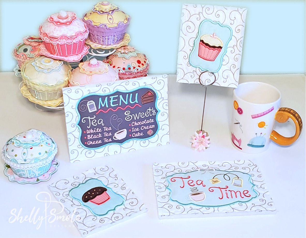 Embroidered Tea Time Quilt Menu, Muffin, and Cupcake
