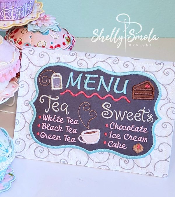 Embroidered Tea Time Quilt Menu