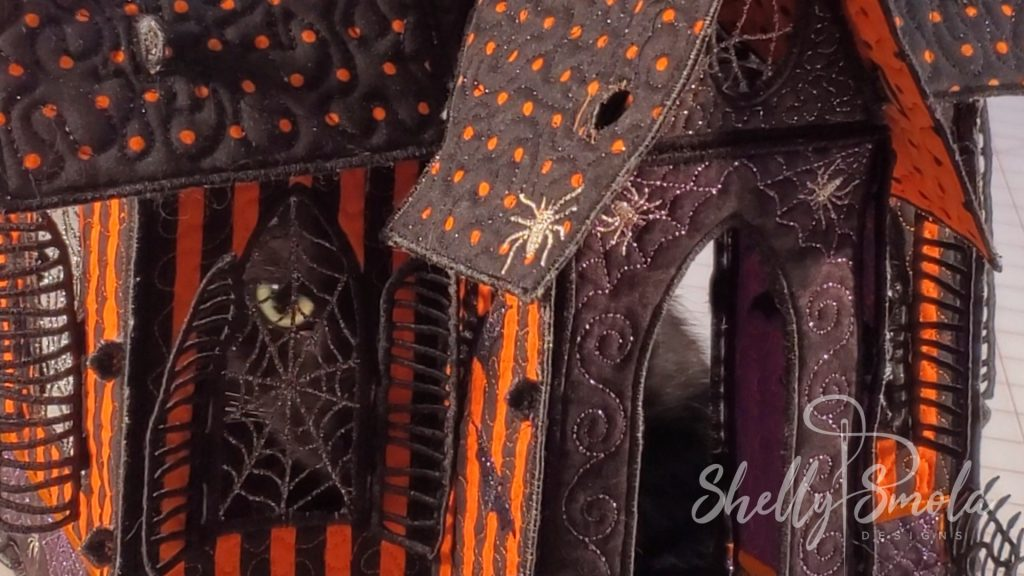 Embroidered Halloween Haunted House by Shelly Smola Designs