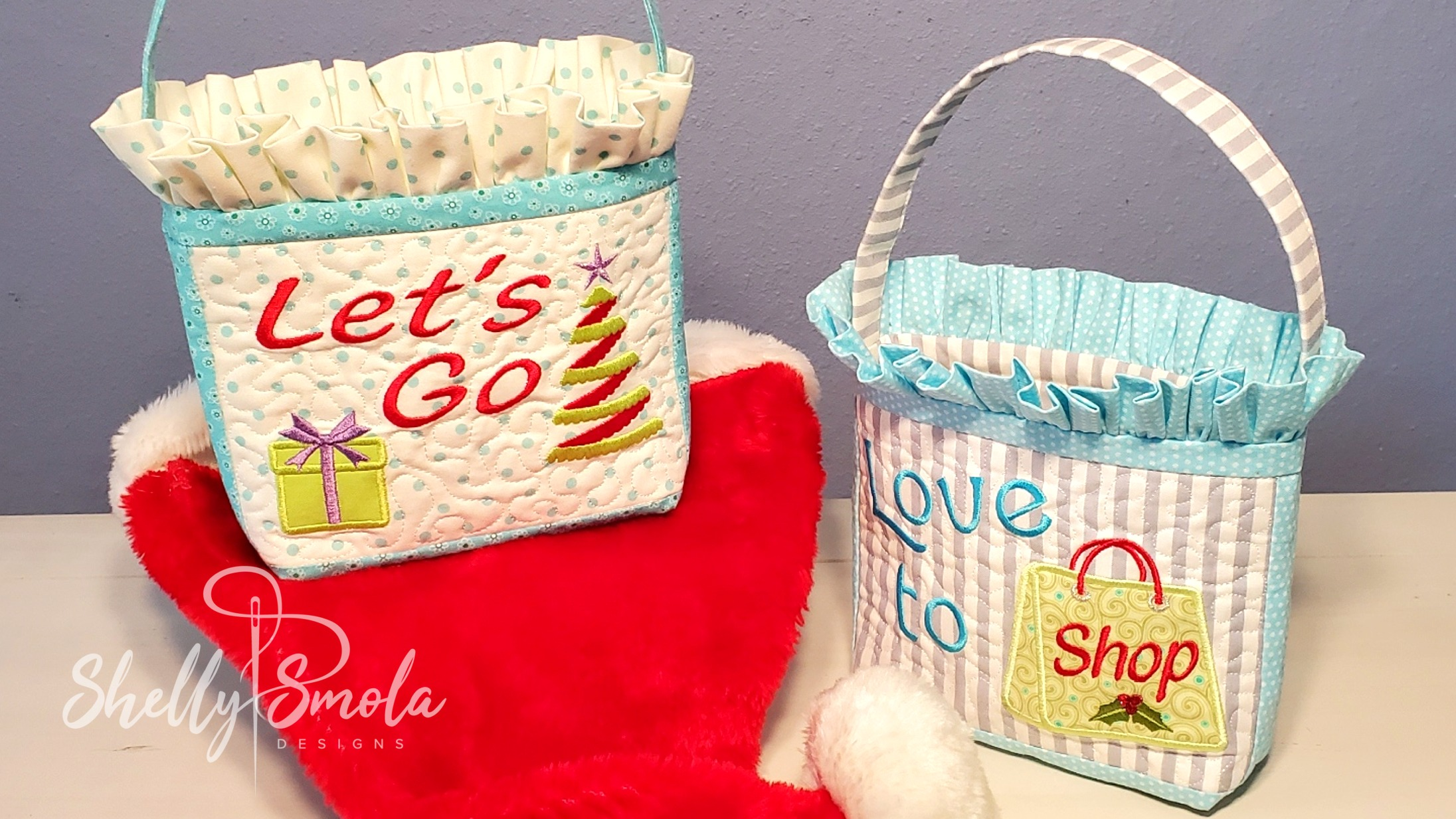 Embroidered Christmas Purse by Shelly Smola