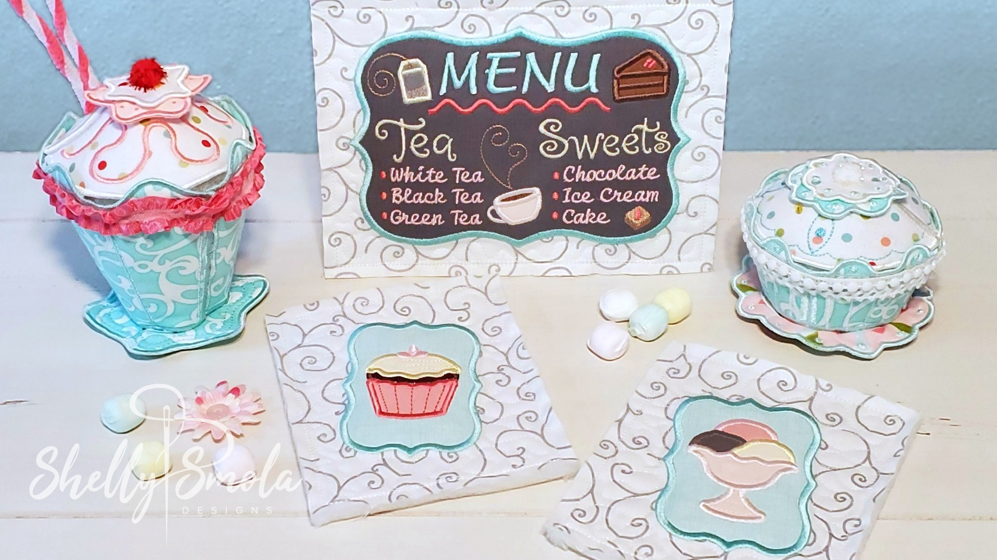 Embroidered Tea Time Quilt Sundae Cupcake and Menu