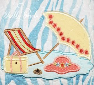 Beach Scene Embroidery Umbrella