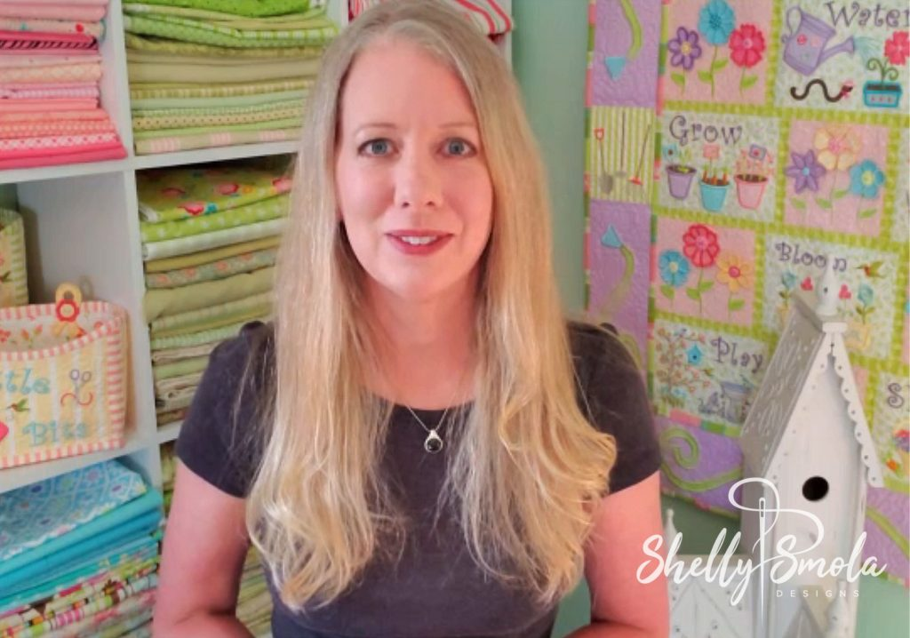 Shelly in her sewing room