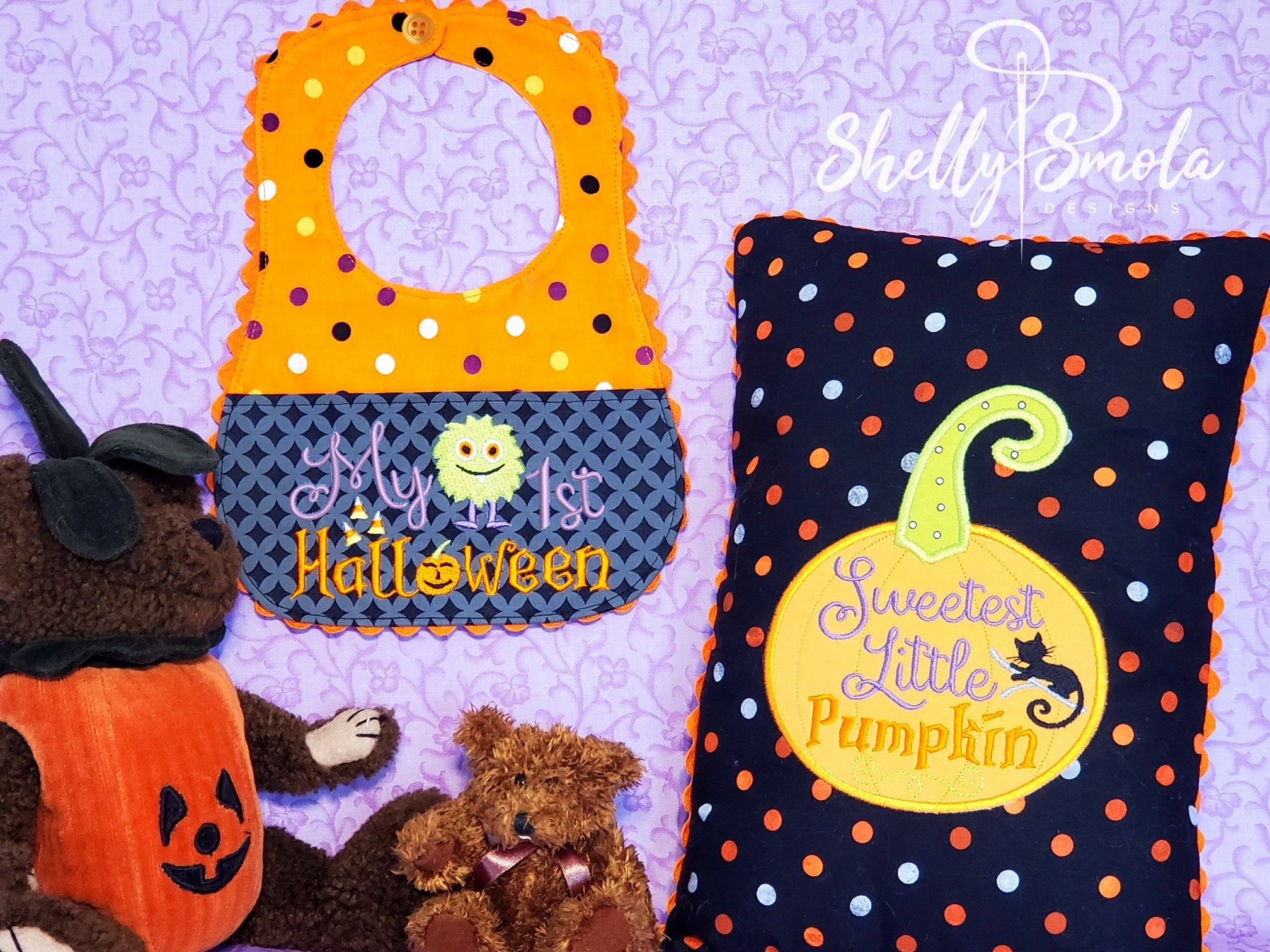 Halloween Bib and Pillow by Shelly Smola