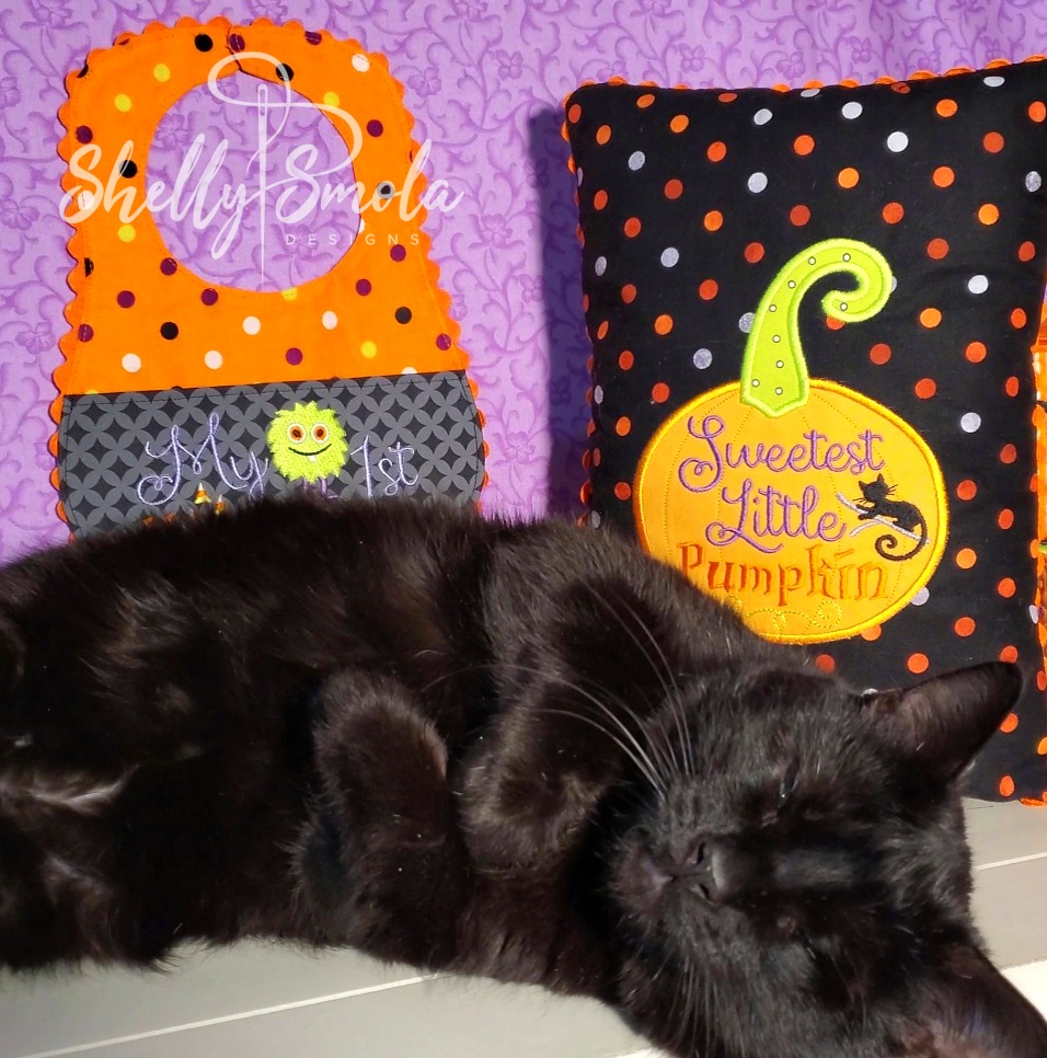 Little Pumpkin Pillow with Spooky by Shelly Smola