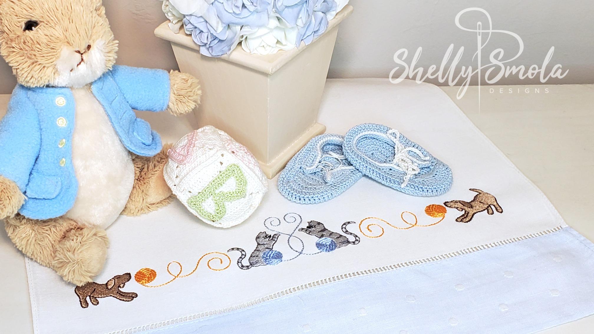 Playful Threads Border Tea Towel by Shelly Smola