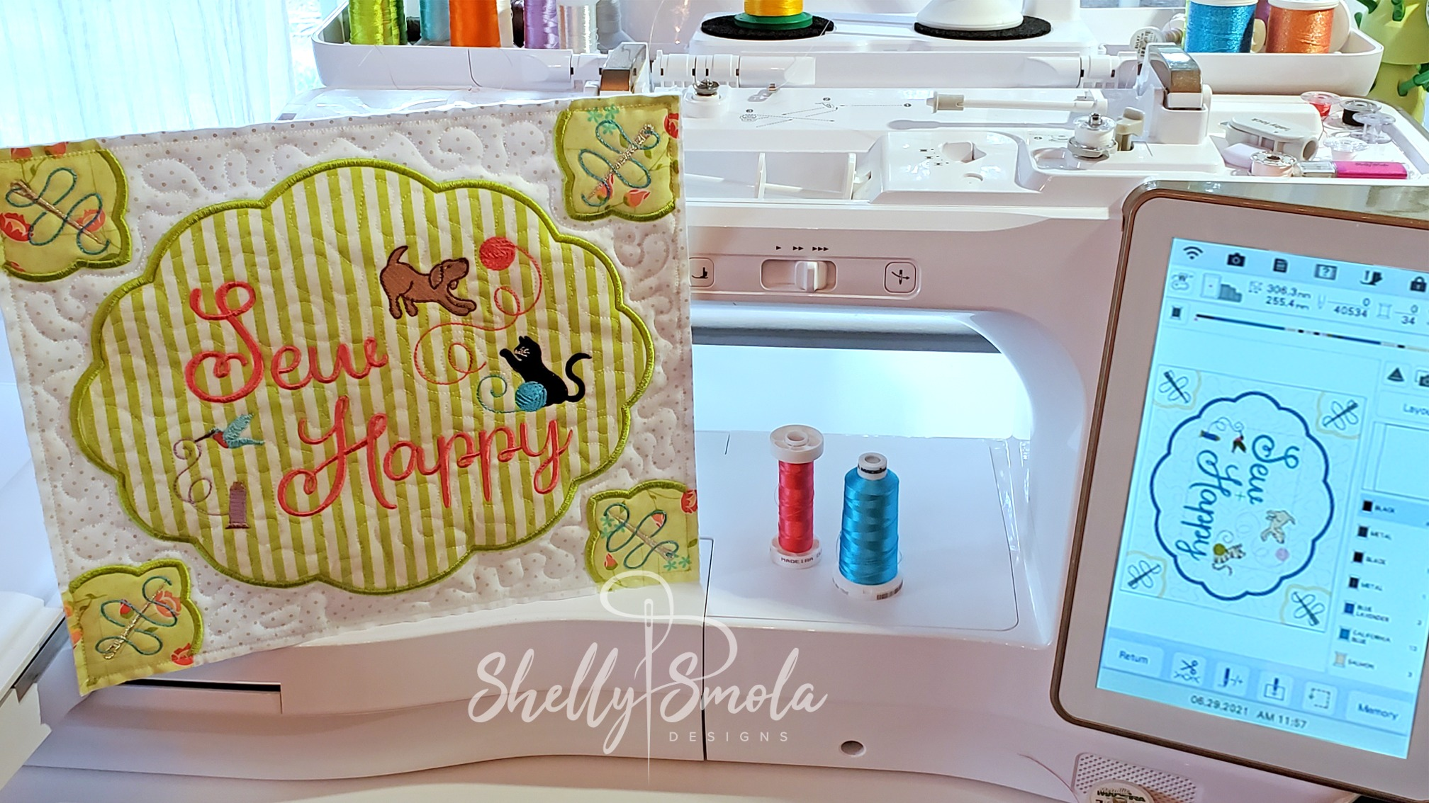Large Sew Happy Block by Shelly Smola