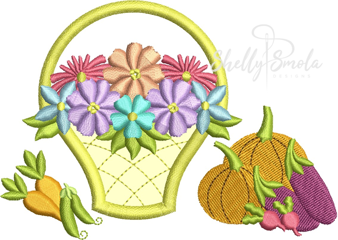Flower Basket and Veggies by Shelly Smola